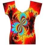 Crazy Mandelbrot Fractal Red Yellow Turquoise Women s V-Neck Cap Sleeve Top Front