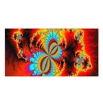 Crazy Mandelbrot Fractal Red Yellow Turquoise Satin Shawl Front