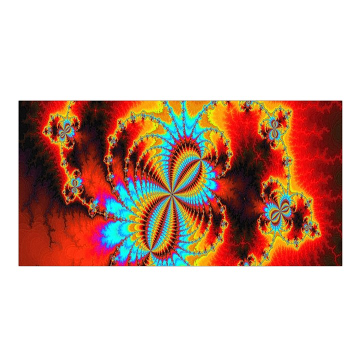 Crazy Mandelbrot Fractal Red Yellow Turquoise Satin Shawl