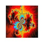 Crazy Mandelbrot Fractal Red Yellow Turquoise Small Satin Scarf (Square) Front