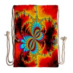 Crazy Mandelbrot Fractal Red Yellow Turquoise Drawstring Bag (Large) Back