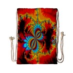 Crazy Mandelbrot Fractal Red Yellow Turquoise Drawstring Bag (Small) Front