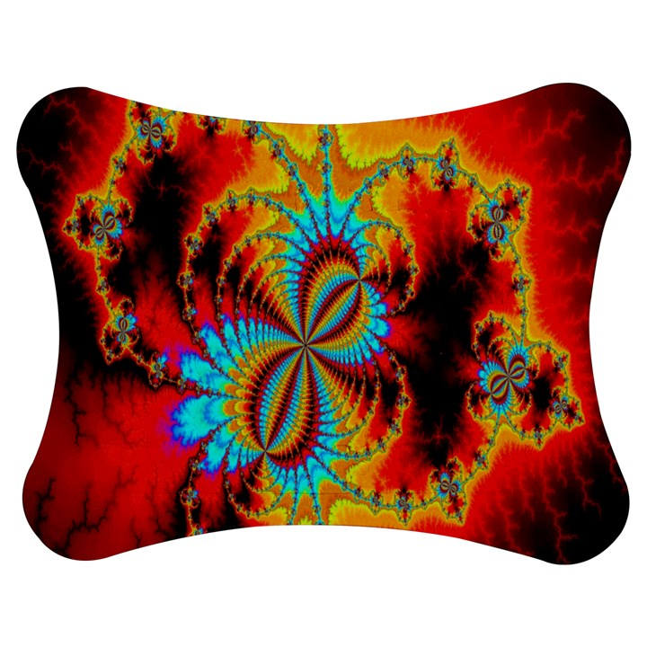 Crazy Mandelbrot Fractal Red Yellow Turquoise Jigsaw Puzzle Photo Stand (Bow)