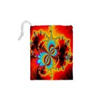 Crazy Mandelbrot Fractal Red Yellow Turquoise Drawstring Pouches (XS)  Back