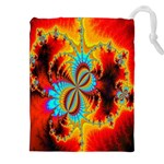 Crazy Mandelbrot Fractal Red Yellow Turquoise Drawstring Pouches (XXL) Front