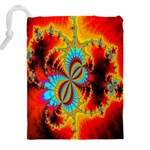 Crazy Mandelbrot Fractal Red Yellow Turquoise Drawstring Pouches (XXL) Back
