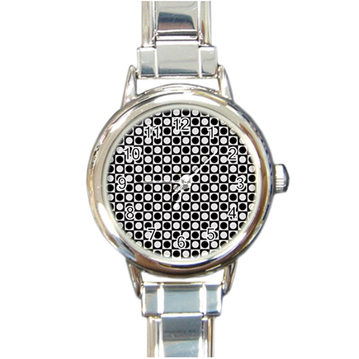 Modern Dots In Squares Mosaic Black White Round Italian Charm Watch
