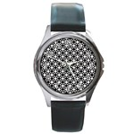 Modern Dots In Squares Mosaic Black White Round Metal Watch Front