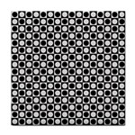 Modern Dots In Squares Mosaic Black White Tile Coasters Front