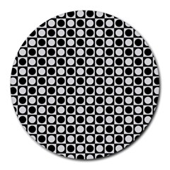 Modern Dots In Squares Mosaic Black White Round Mousepads