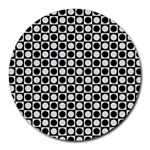 Modern Dots In Squares Mosaic Black White Round Mousepads Front
