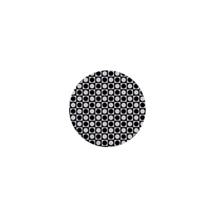 Modern Dots In Squares Mosaic Black White 1  Mini Magnets
