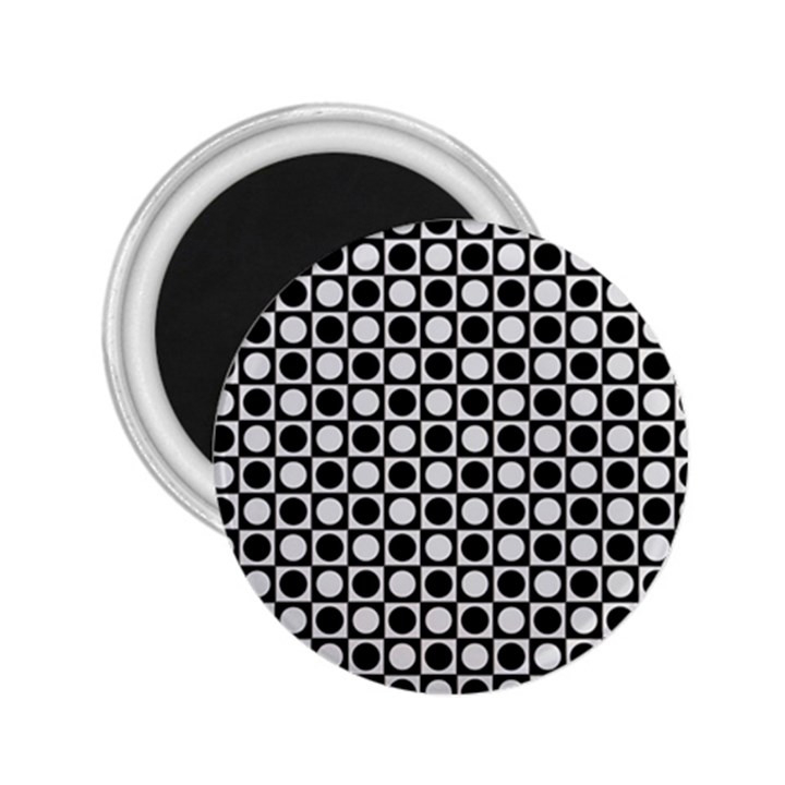 Modern Dots In Squares Mosaic Black White 2.25  Magnets