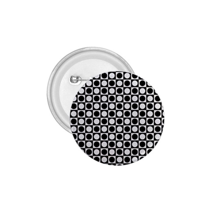 Modern Dots In Squares Mosaic Black White 1.75  Buttons