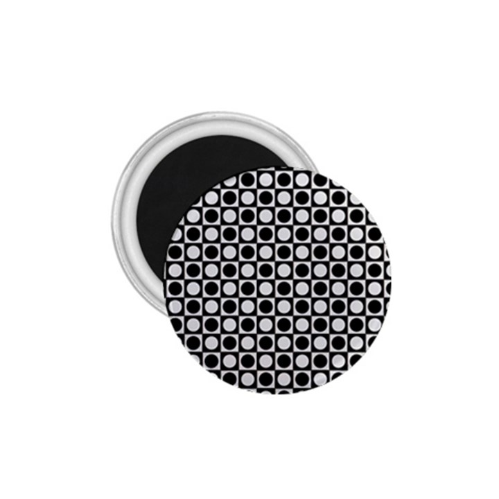 Modern Dots In Squares Mosaic Black White 1.75  Magnets