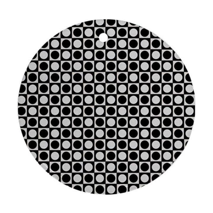 Modern Dots In Squares Mosaic Black White Ornament (Round)