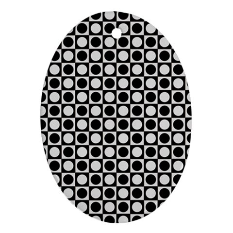 Modern Dots In Squares Mosaic Black White Ornament (Oval)