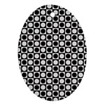 Modern Dots In Squares Mosaic Black White Ornament (Oval)  Front