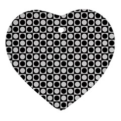 Modern Dots In Squares Mosaic Black White Ornament (Heart)