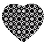 Modern Dots In Squares Mosaic Black White Ornament (Heart)  Front
