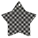 Modern Dots In Squares Mosaic Black White Ornament (Star)  Front