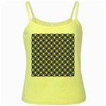 Modern Dots In Squares Mosaic Black White Yellow Spaghetti Tank Front