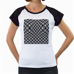 Modern Dots In Squares Mosaic Black White Women s Cap Sleeve T Front