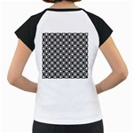 Modern Dots In Squares Mosaic Black White Women s Cap Sleeve T Back