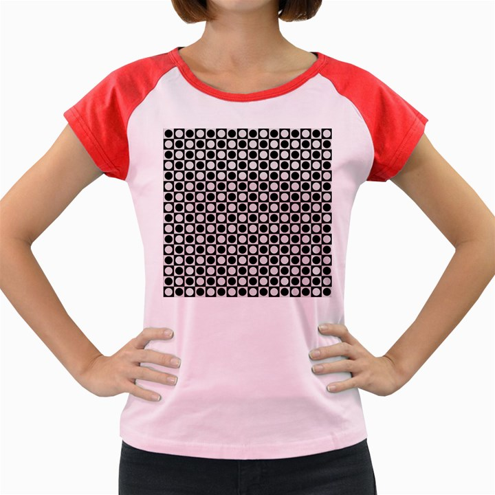 Modern Dots In Squares Mosaic Black White Women s Cap Sleeve T-Shirt