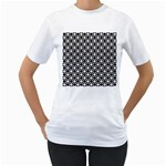 Modern Dots In Squares Mosaic Black White Women s T-Shirt (White) (Two Sided) Front