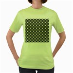 Modern Dots In Squares Mosaic Black White Women s Green T-Shirt Front