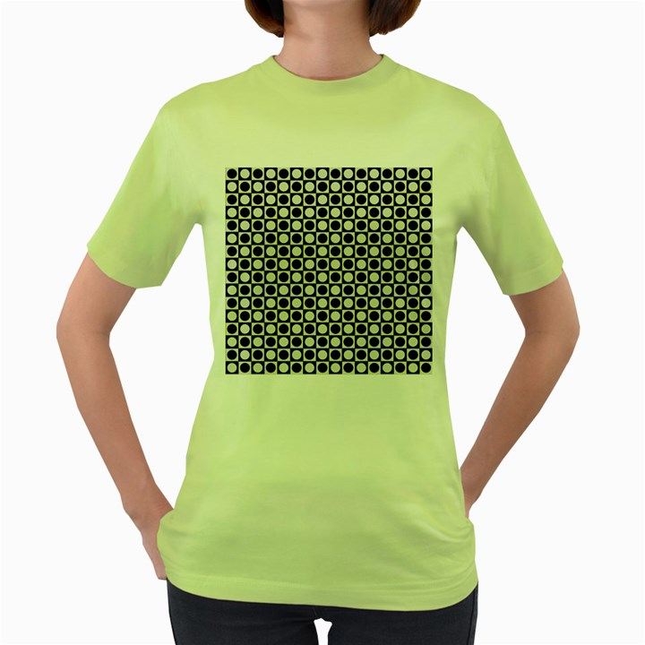 Modern Dots In Squares Mosaic Black White Women s Green T-Shirt