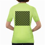 Modern Dots In Squares Mosaic Black White Women s Green T-Shirt Back