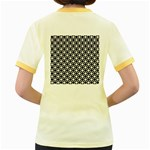 Modern Dots In Squares Mosaic Black White Women s Fitted Ringer T-Shirts Back