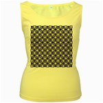 Modern Dots In Squares Mosaic Black White Women s Yellow Tank Top Front