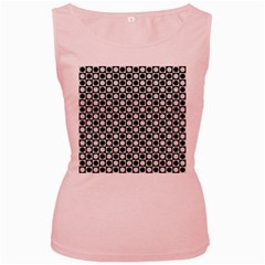 Modern Dots In Squares Mosaic Black White Women s Pink Tank Top
