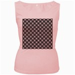 Modern Dots In Squares Mosaic Black White Women s Pink Tank Top Front