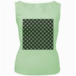 Modern Dots In Squares Mosaic Black White Women s Green Tank Top Front