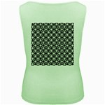 Modern Dots In Squares Mosaic Black White Women s Green Tank Top Back