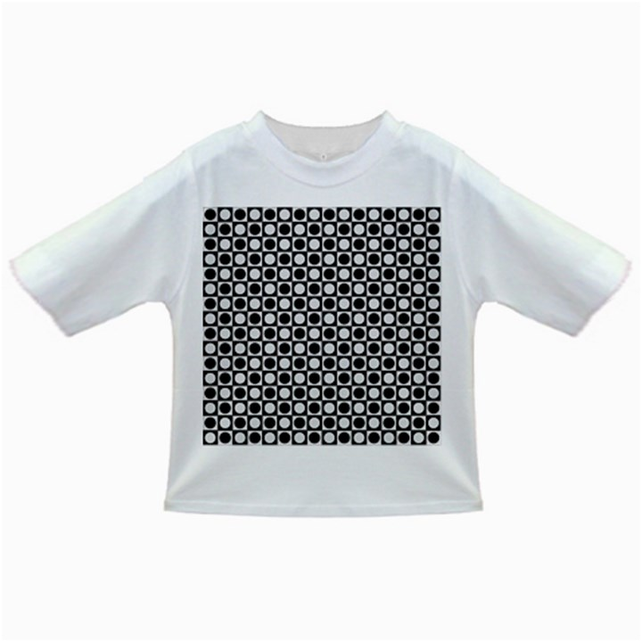Modern Dots In Squares Mosaic Black White Infant/Toddler T-Shirts