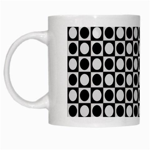 Modern Dots In Squares Mosaic Black White White Mugs