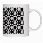 Modern Dots In Squares Mosaic Black White White Mugs Right