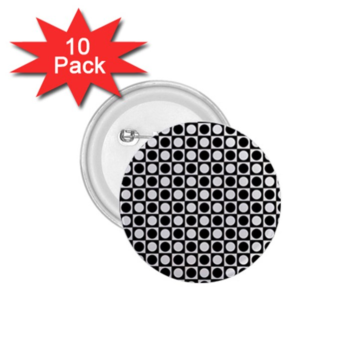 Modern Dots In Squares Mosaic Black White 1.75  Buttons (10 pack)
