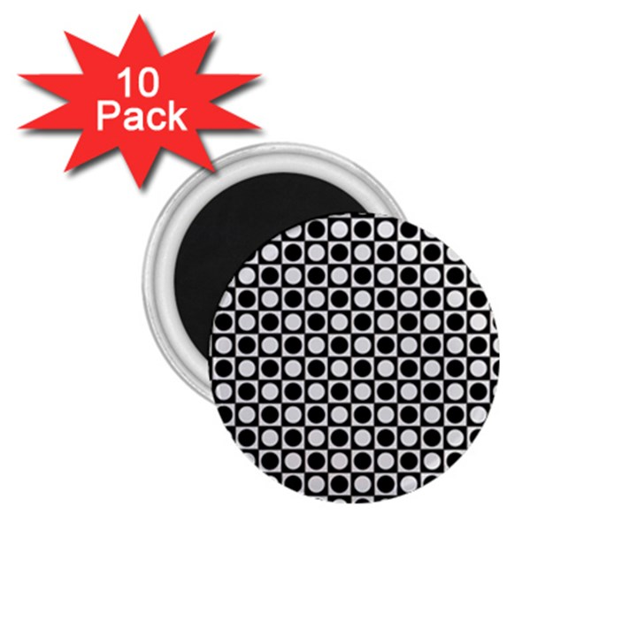 Modern Dots In Squares Mosaic Black White 1.75  Magnets (10 pack)
