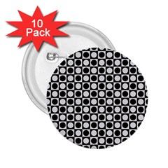 Modern Dots In Squares Mosaic Black White 2 25  Buttons (10 Pack)