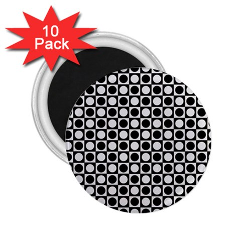 Modern Dots In Squares Mosaic Black White 2.25  Magnets (10 pack)
