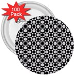 Modern Dots In Squares Mosaic Black White 3  Buttons (100 pack)  Front