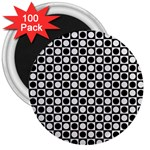 Modern Dots In Squares Mosaic Black White 3  Magnets (100 pack) Front