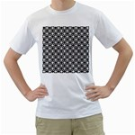 Modern Dots In Squares Mosaic Black White Men s T-Shirt (White) (Two Sided) Front