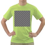 Modern Dots In Squares Mosaic Black White Green T-Shirt Front